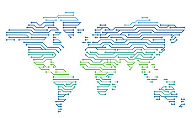 Color map of the world in the form of an electronic circuit. Vector graphics. Digital technologies.