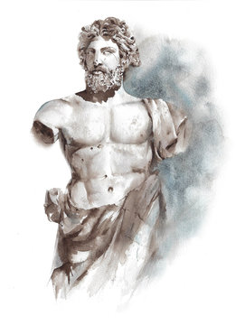 Statue ancient Greek Roman sculpture warrior athlete man statue watercolor painting illustration isolated on white background