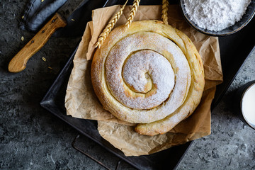 Ensaimada - traditional spiral shaped pastry