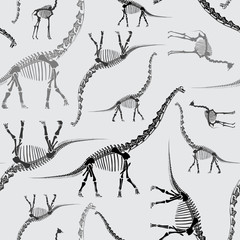 Dinosaur Skeleton Seamless Pattern in Greys