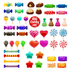 Set of different sweets on white background - hard candies dragee jelly beans peppermint candy. Vector illustration, isolated