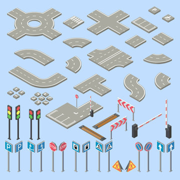 Vector 3d isometric road signs collection, pieces of street, highway. Roadwork, crossroads cartoon elements. Speed hump, different barriers and traffic lights isolated on blue background