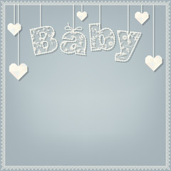 baby shower card. lace font