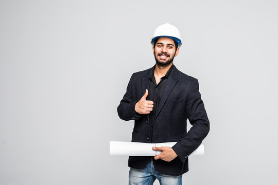 Young indian architect with thumbs up posing to the camera isolated on white background.