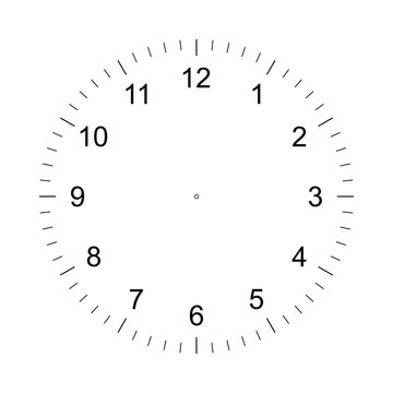 Clock face. Measuring circle scale. Measuring round scale, Level indicator, measurement acceleration, circular meter, round meter for household appliances. 12 large divisions, 60 medium. Vector AI10