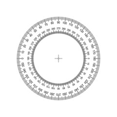 Circular Protractor. Protractor grid for measuring degrees. Tilt angle meter. Measuring tool. Measuring circle scale. Measuring round scale, Level indicator, circular meter AI10