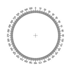 Measuring circle scale. Measuring round scale, Level indicator, measurement acceleration, circular meter for household appliances, division from 0 to 350. Graduation 360 degrees Vector AI10