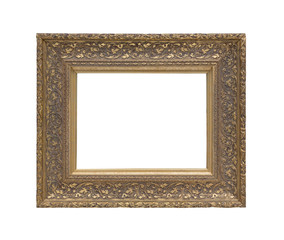 Old wooden frame for photo, pattern, mirror. Isolated on a white background.