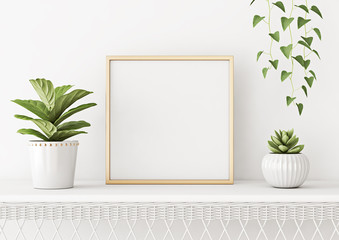 Home interior poster mock up with square metal frame and plants in pots on white wall background. 3D rendering.