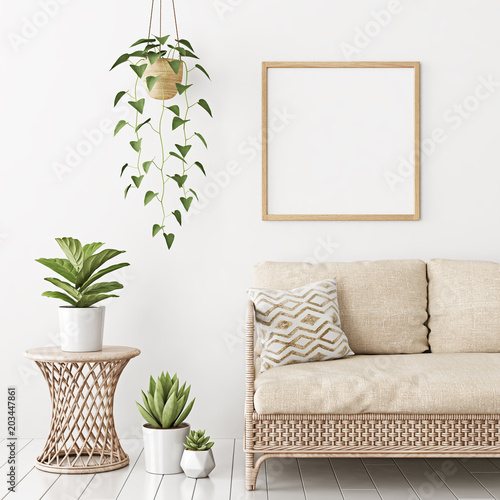 Home Interior Poster Mock Up With Square Empty Wooden Frame Wicker