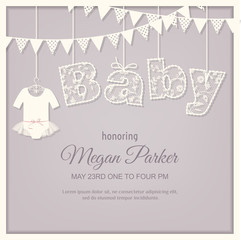 baby shower card. lace font. girl