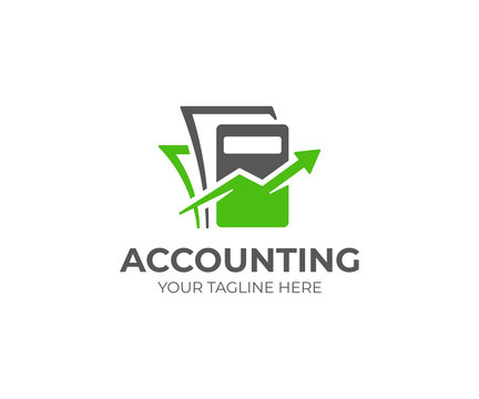 Bookkeeping logo template. Accounting vector design. Calculator with arrow and documents logotype