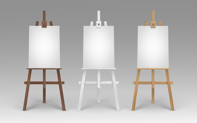 Vector Set of Wooden Brown White Sienna Easels with Mock Up Empty Blank Vertical Canvases Isolated on Background