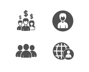 Set of Person, Salary employees and Group icons. International recruitment sign. Edit profile, People earnings, Group of users. World business.  Quality design elements. Classic style. Vector