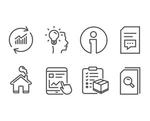 Set of Internet report, Idea and Parcel checklist icons. Comments, Update data and Search files signs. Web tutorial, Professional job, Logistics check. Vector