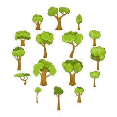 Green trees icons set. Cartoon illustration of 16 green trees vector icons for web