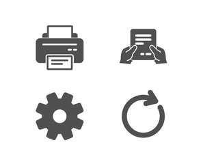 Set of Printer, Service and Receive file icons. Synchronize sign. Printing device, Cogwheel gear, Hold document. Refresh or update.  Quality design elements. Classic style. Vector