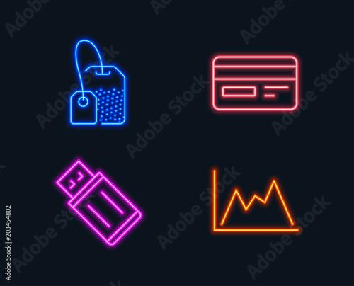Neon Lights Set Of Credit Card Usb Flash And Tea Bag Icons