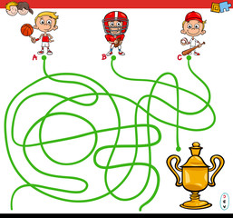 paths maze game with kid and sports