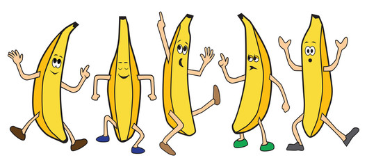 Five cartoon bananas are dancing the night away