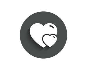 Couple Love simple icon. Two Hearts sign. Valentines day symbol. Circle flat button with shadow. Vector