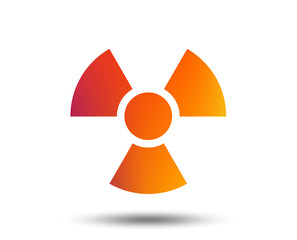 Radiation sign icon. Danger symbol. Blurred gradient design element. Vivid graphic flat icon. Vector