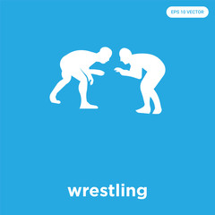wrestling icon isolated on blue background