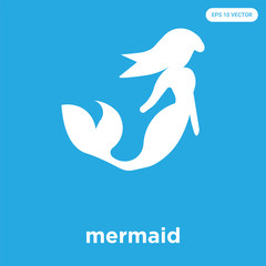 mermaid icon isolated on blue background