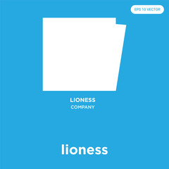 lioness icon isolated on blue background