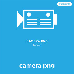 camera png icon isolated on blue background