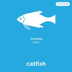 catfish icon isolated on blue background