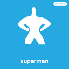 superman icon isolated on blue background