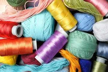 Different sewing threads as background