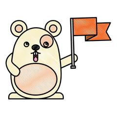 kawaii mouse holds flag cartoon vector illustration