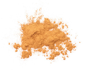 Aromatic cinnamon powder on white background
