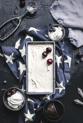 Vanilla ice cream with cherries and blueberries