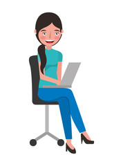 woman with laptop in the chair character vector illustration design