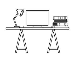 workspace desk laptop books and lamp vector illustration