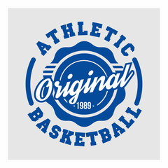 Basketball, Athletic for t-shirt print. Athletic sport typography