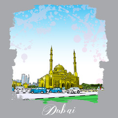 Dubai Marina district Mosque, hand drawn sketch with watercolor splashes and skyscrapers in UAE. Illustration, vector.
