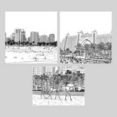 Set of City Dubai skyline and famous tourist destinations. UAE. United Arab Emirates skyscraper buildings, hotels and Mosque. Hand drawn sketch. Vector.