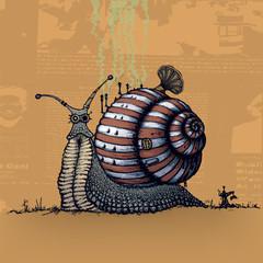 Snail.Steampunk style illustration
