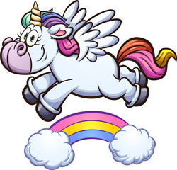 Cartoon unicorn flying over rainbow. Vector clip art illustration with simple gradients. Unicorn and rainbow on separate layers.