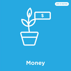 Money icon isolated on blue background