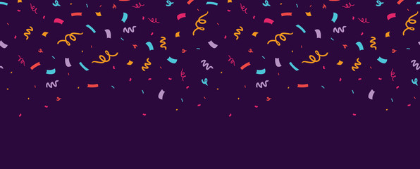 Colorful confetti horizontal seamless border. Great for a birthday party or an event celebration invitation or decor. Surface pattern design.