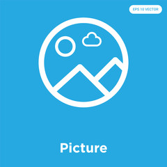 Picture icon isolated on blue background