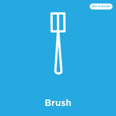 Brush icon isolated on blue background