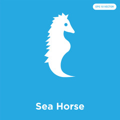 Sea Horse icon isolated on blue background