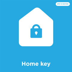 Home key icon isolated on blue background