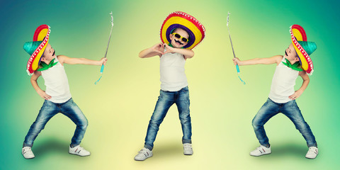 Сollage.Funny boy with a fake mustache and in Mexican sombrero.